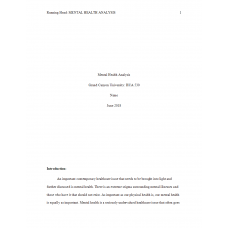 HCA 530 Topic 1 Assignment, Analysis of Contemporary Health Care Issue (Mental Health): 2019