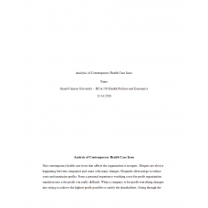 HCA 530 Topic 1 Assignment, Analysis of Contemporary Health Care Issue (Mergers): 2019