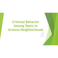 SOC 220 Week 4 Assignment, Criminal Behavior among Teens in Arizona Neighborhoods
