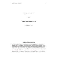 HCA 530 Topic 2 Assignment, Capital Purchase Justification (Mammography Unit): 2019