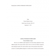 HCA 530 Topic 2 Assignment, Capital Purchase Justification (Nuclear Medicine Camera): 2019