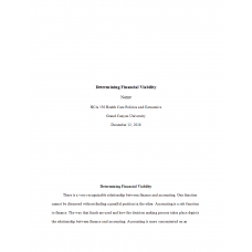HCA 530 Topic 3 Assignment, Determining Financial Viability: 2019