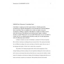 LDR 600 Week 1 Discussion 2, Leadership Tactics