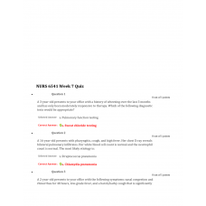 NURS 6541 Week 7 Quiz 2