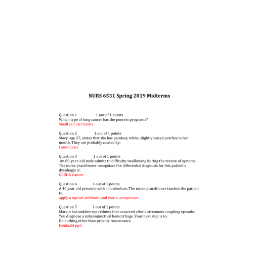 NURS 6531N Midterm Exam 5 - Question and Answers