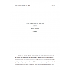 SEC 340 Week 5 Disaster Recovery Plan Paper