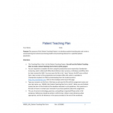 NR 305 Week 4 Assignment 1, Patient Teaching Plan (Stresss and Time Management): 2019