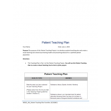 NR 305 Week 4 Assignment 1, Patient Teaching Plan (Substance Abuse): 2019