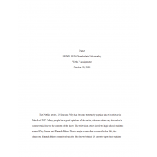 HUMN 303 Week 7 Assignment, What is Art - 13 Reasons Why Netflix Series: 2019
