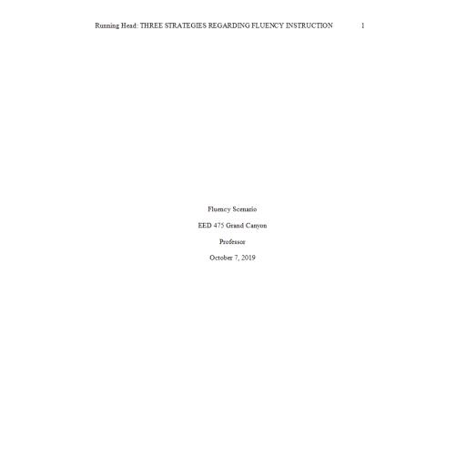 EED 475 Week 4 Assignment, Fluency Scenario: 2019