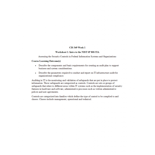 CIS 349 Week 1 Worksheet 1, Intro to the NIST SP 800-53A: 2019