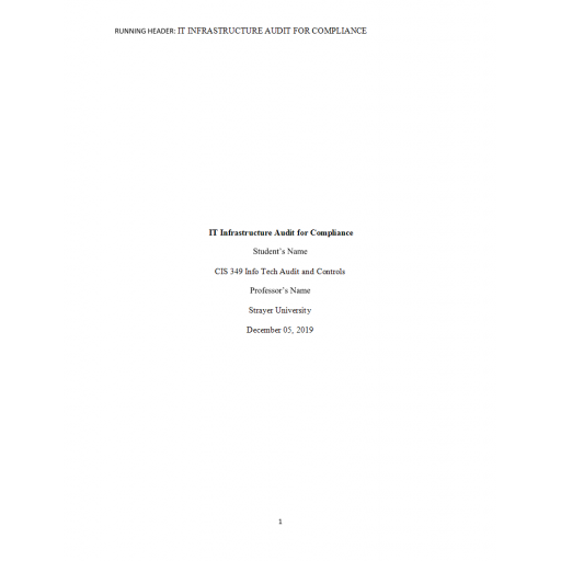 CIS 349 Week 10 Term Paper, Planning an IT Infrastructure Audit for Compliance
