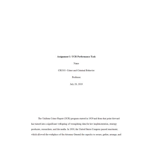 CRJ 105 Week 4 Assignment 1, UCR Performance Task