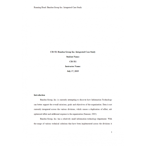 CIS 511 Week 1 Assignment 1, Integrated Case Study, Brandon Group Inc