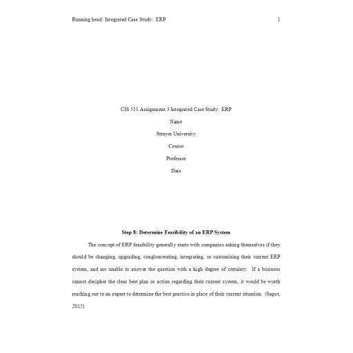 CIS 511 Week 8 Assignment 3, Integrated Case Study - ERP