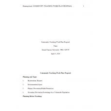 NRS 428VN Topic 3 Benchmark Assignment, Community Teaching Work Plan Proposal: 2020