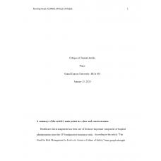 HCA 610 Topic 5 Assignment, Journal Article Critique 1