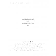 NUR 514 Week 2 Assignment, Leadership Style Reflective Essay