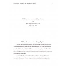 NUR 550 Topic 4 Benchmark Assignment, Part A - Population Health Research and PICOT Statement 2: 2020