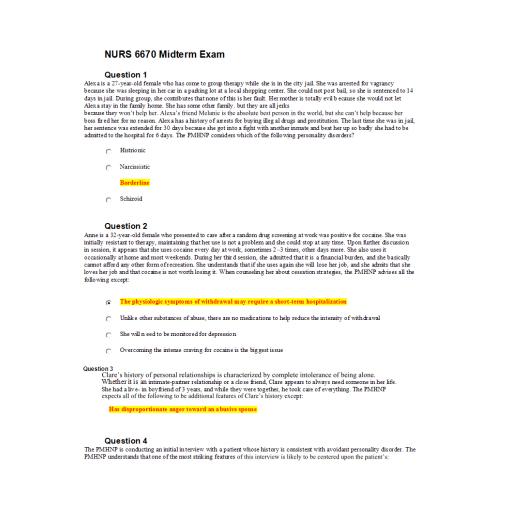 NURS 6670 Midterm Exam 1: 2020 (75/75 Points)