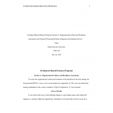 NUR 590 Week 2 EBP Section A - Organizational Culture and Readiness and Section B - Proposal Problem and Literature Review (ANAI)