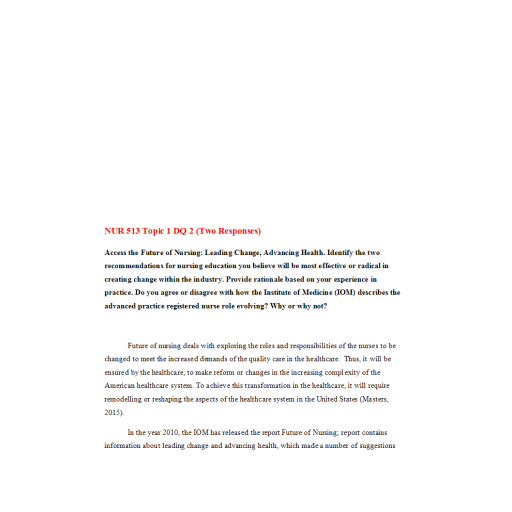 NUR 513 Topic 1 DQ 2 (Two Responses)