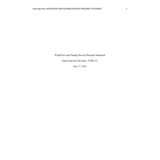 NUR 513 Topic 5 Assignment, Worldview and Nursing Process Personal Statement