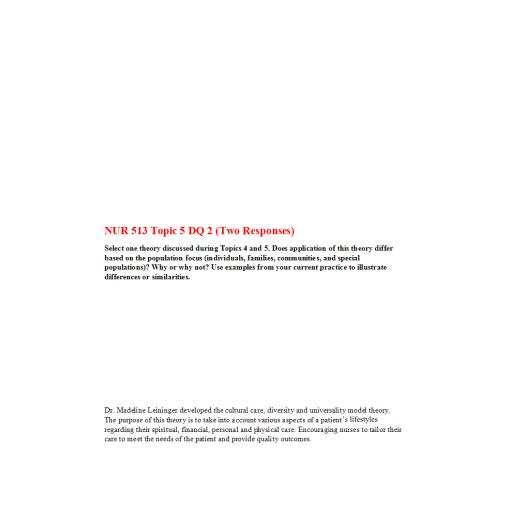 NUR 513 Topic 5 DQ 2 (Two Responses)