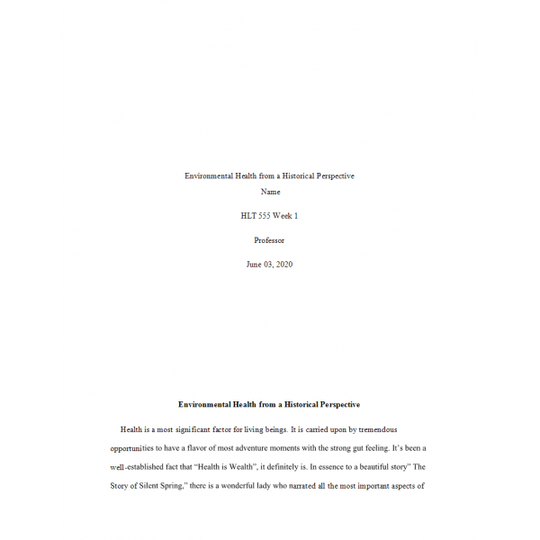 HLT 555 Week 1 Assignment, Environmental Health from a Historical Perspective Paper 1