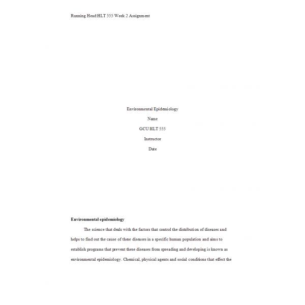 HLT 555 Week 2 Assignment, Environmental Epidemiology