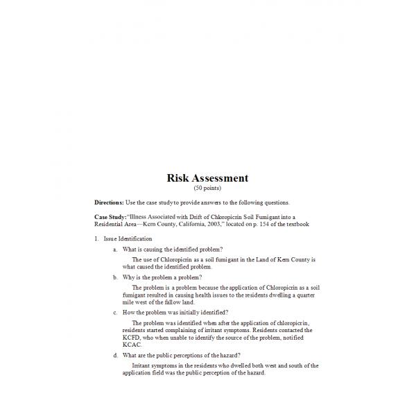 HLT 555 Week 3 Assignment, Risk Assessment 2