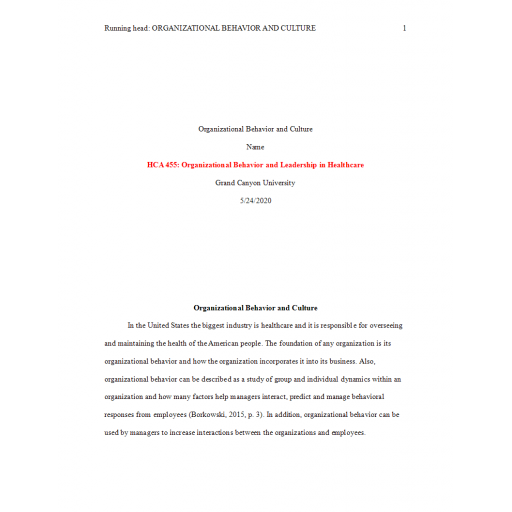 HCA 455 Topic 1 Assignment, Organizational Behavior and Culture: Spring 2020