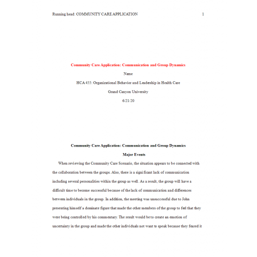 HCA 455 Topic 5 Assignment, Community Care Application - Comminication and Group Dynamics: Spring 2020