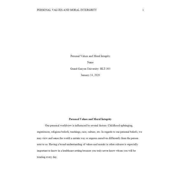 HLT 305 Topic 1 Assignment, Personal Values and Moral Integrity: Spring 2020