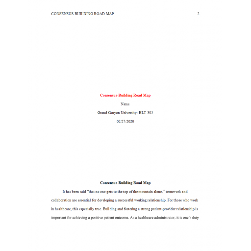 HLT 305 Topic 4 Assignment, Consensus Building Road Map: Spring 2020