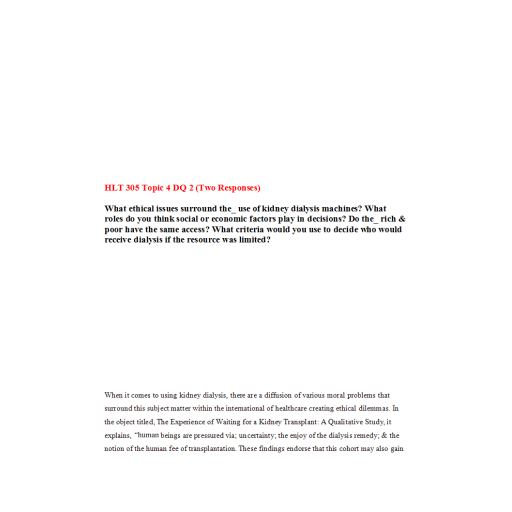 HLT 305 Topic 4 DQ 2 (Two Responses): Spring 2020