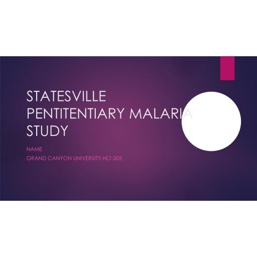 HLT 305 Topic 8 CLC Assignment, Ethics in Changing Health Care Environment - Statesville Pentitentiary Malaria Study: Spring 2020