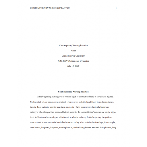 NRS 430V Topic 2 Assignment, Contemporary Nursing Practice 1: Summer 2020