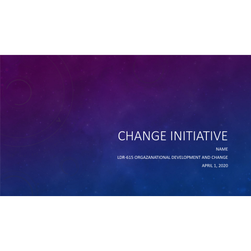 LDR 615 Topic 4 Assignemnt, Change Initiative - Develop a Change Model: Summer 2020