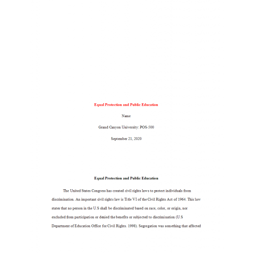 POS 500 Topic 3 Assignment, Equal Protection and Public Education: Fall 2020