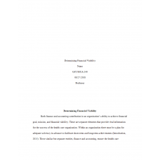 HCA 240 Assignment 3, Determining Financial Viability: 2019