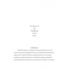 HCA 240 Assignment 4, Coder Biller Interview: 2019