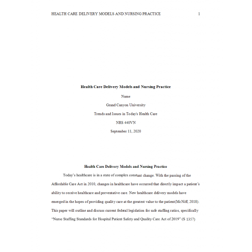 NRS 440VN Week 2 Assignment, Health Care Delivery Models and Nursing Practice: Summer 2020