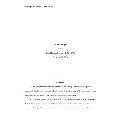 NRS 440VN Week 3 Assignment 2, Reflection Paper: Summer 2020