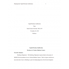 HCA 240 Assignment, Capital Purchase Justification: 2019