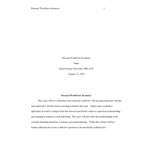 PHI 413V Topic 1 Assignment, Personal Worldview Inventory 2: Summer 2020