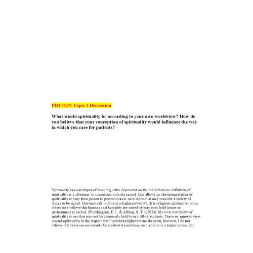 PHI 413V Topic 1 DQ 1: Summer 2020