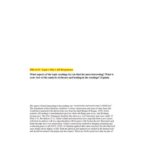 PHI 413V Topic 1 DQ 2: Summer 2020