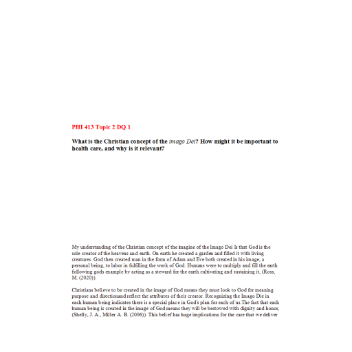 PHI 413V Topic 2 DQ 1: Summer 2020