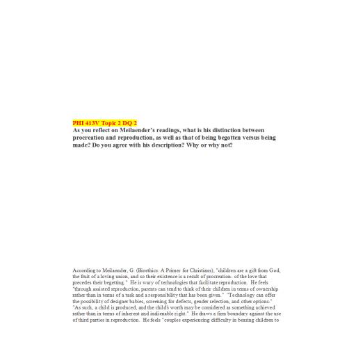 PHI 413V Topic 2 DQ 2 (Ver 2): Summer 2020